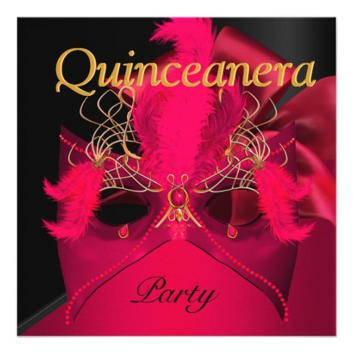 quinceanera red black gold mask masquerade invitation 161904432147276718