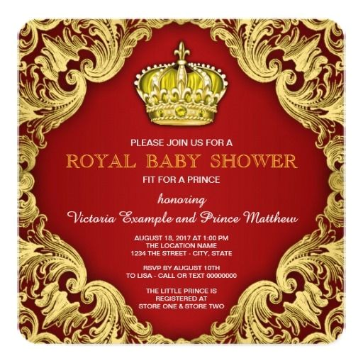 red gold baby shower invitations