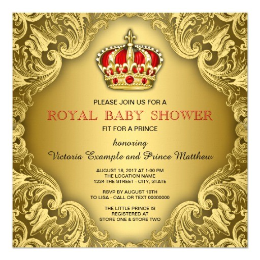 fancy prince baby shower red and gold invitation
