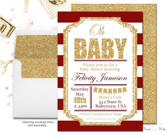 red and gold baby shower invitation