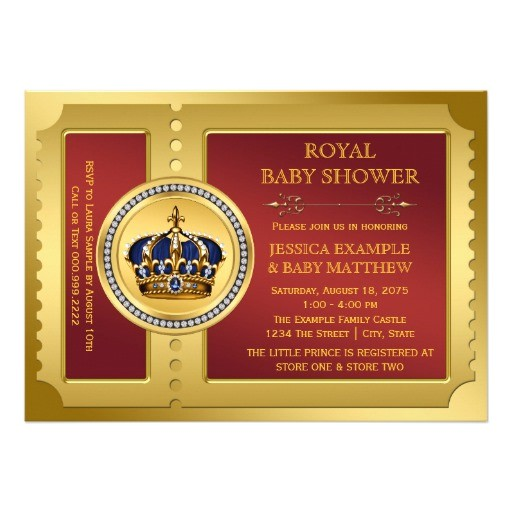 red and gold boys royal baby shower invitation