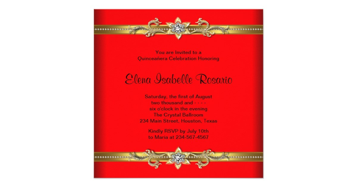 elegant red and gold quinceanera invitations 161023005280775158