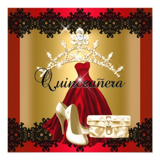 quinceanera 15th red black gold diamond tiara invitation 161923874051524431