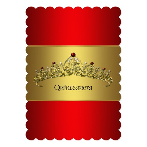 red and gold quinceanera 5x7 paper invitation card 161706303116803469
