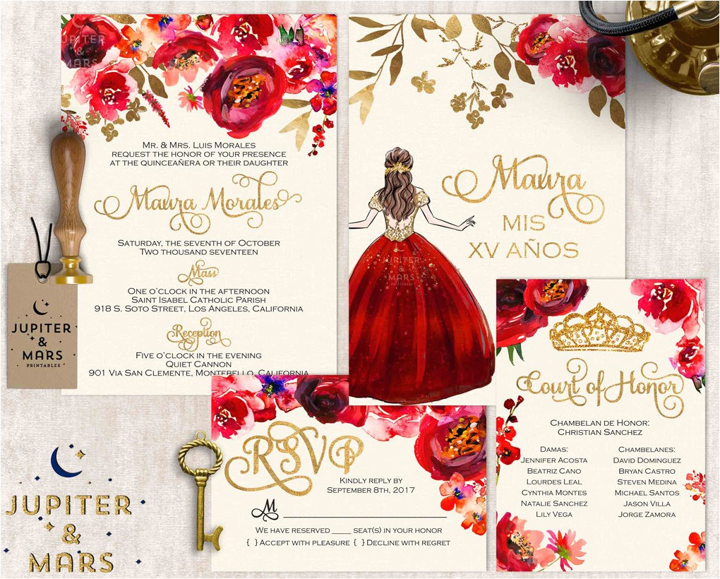 red and gold quinceanera invitation