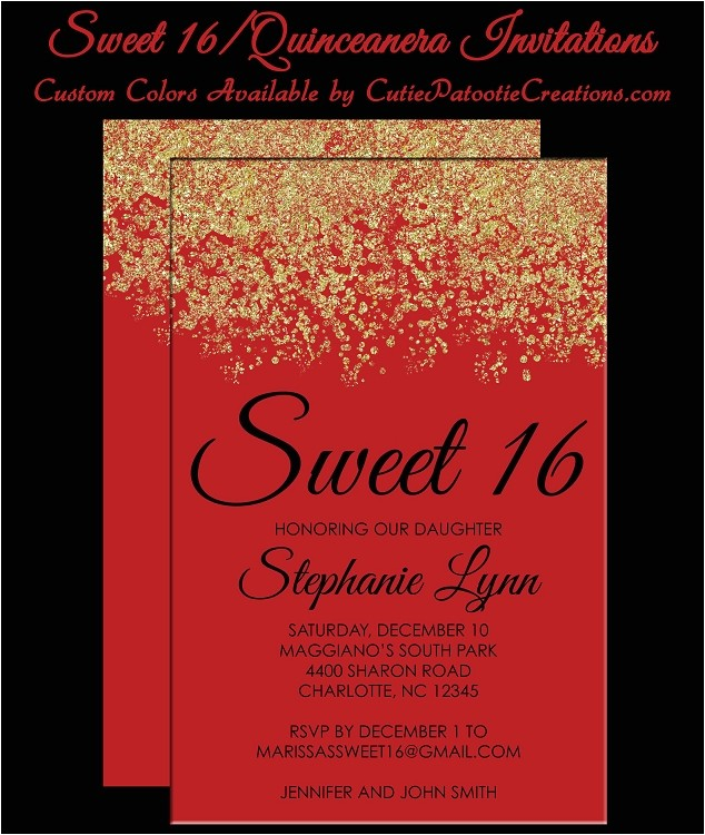 red gold faux glitter sparkle sweet 16 birthday party invitations quinceanera invitation p 4115
