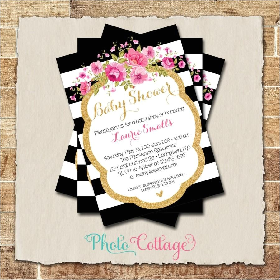 baby shower invitation glitter gold pink invitation baby shower invitations black and gold invites baby girl shower invitation bbs125