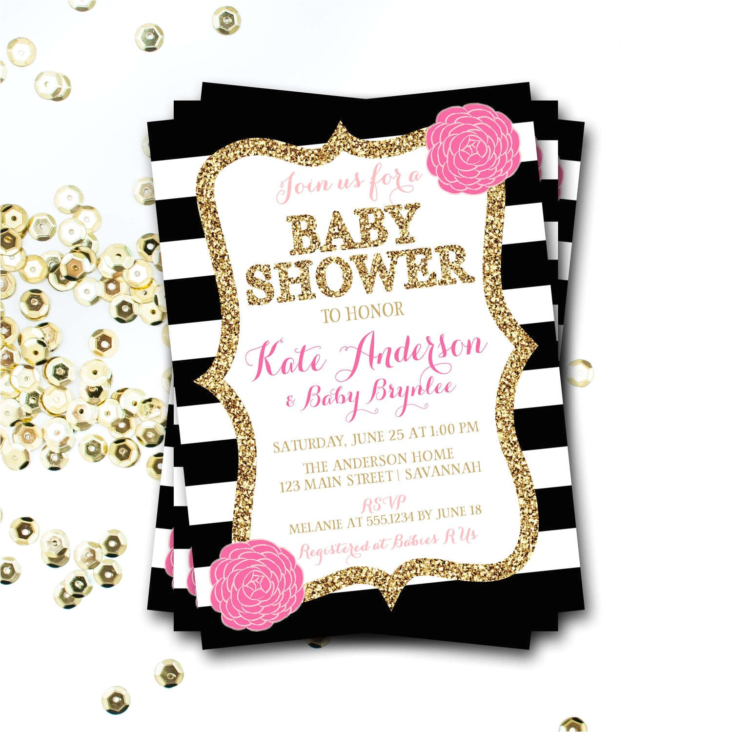 pink black and white baby shower