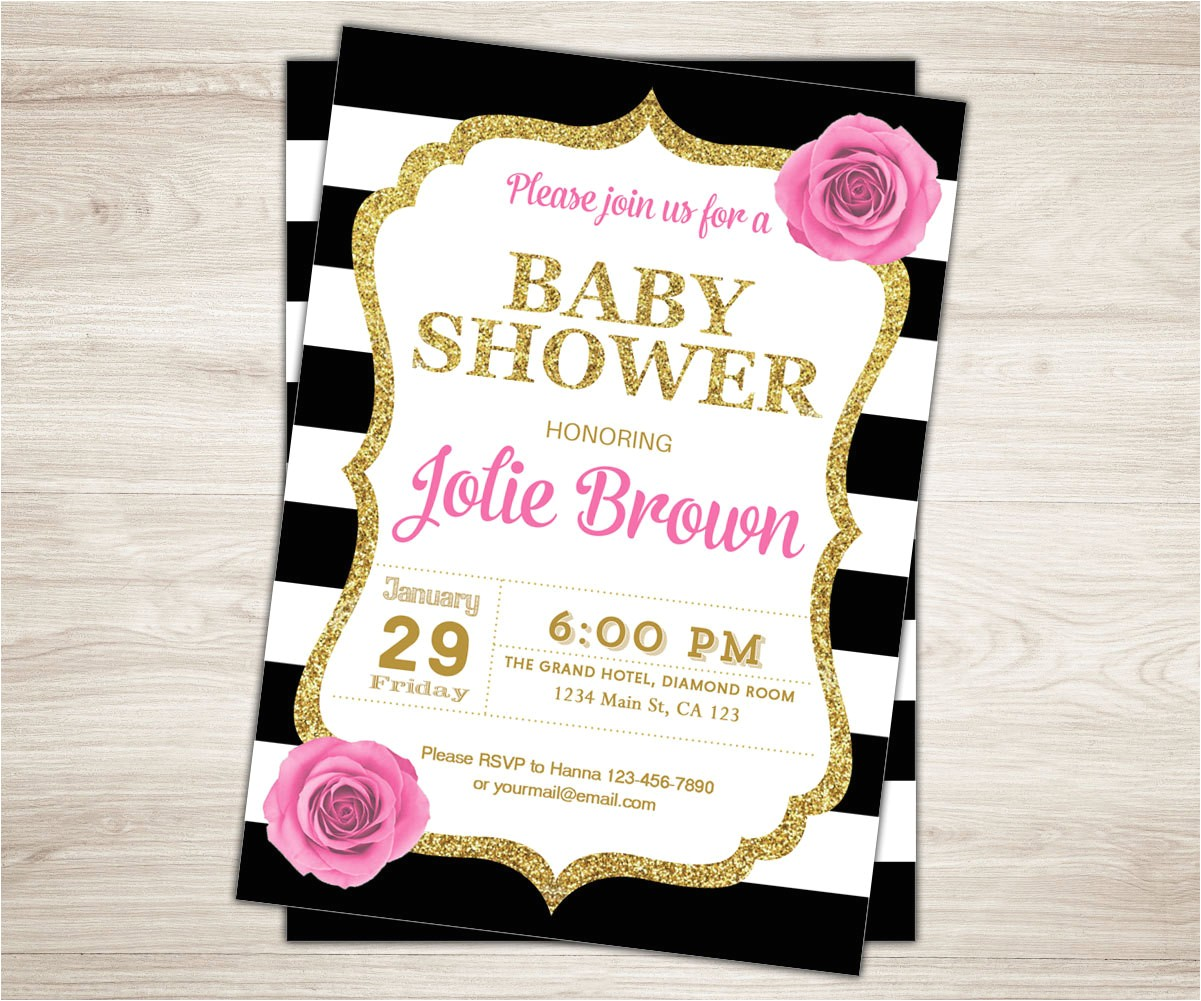 pink black gold baby shower invitation