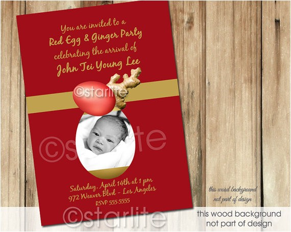 red egg and ginger party invitation
