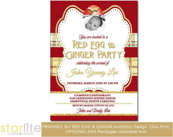 red egg ginger party invitation vintage