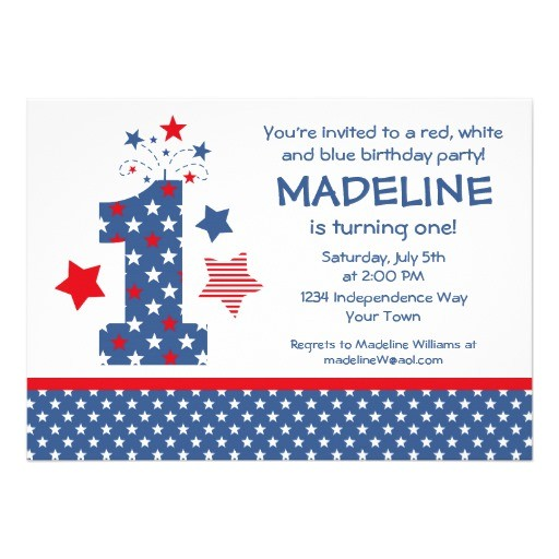 red white and blue birthday invitations