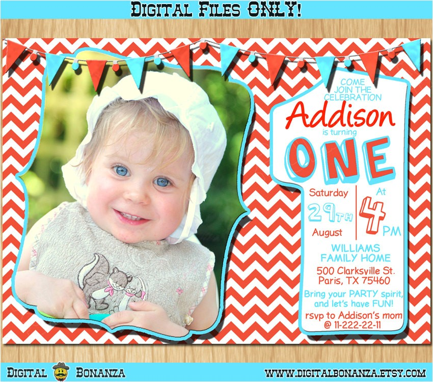 1st birthday invitation red white and