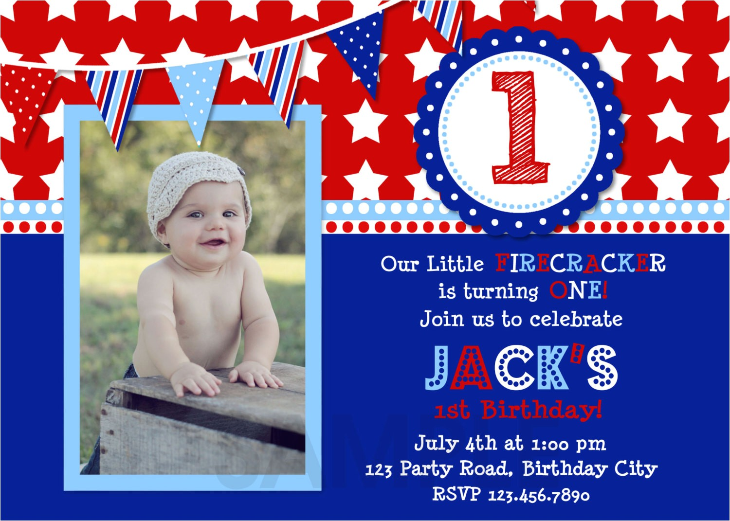 4th of july birthday invitation red