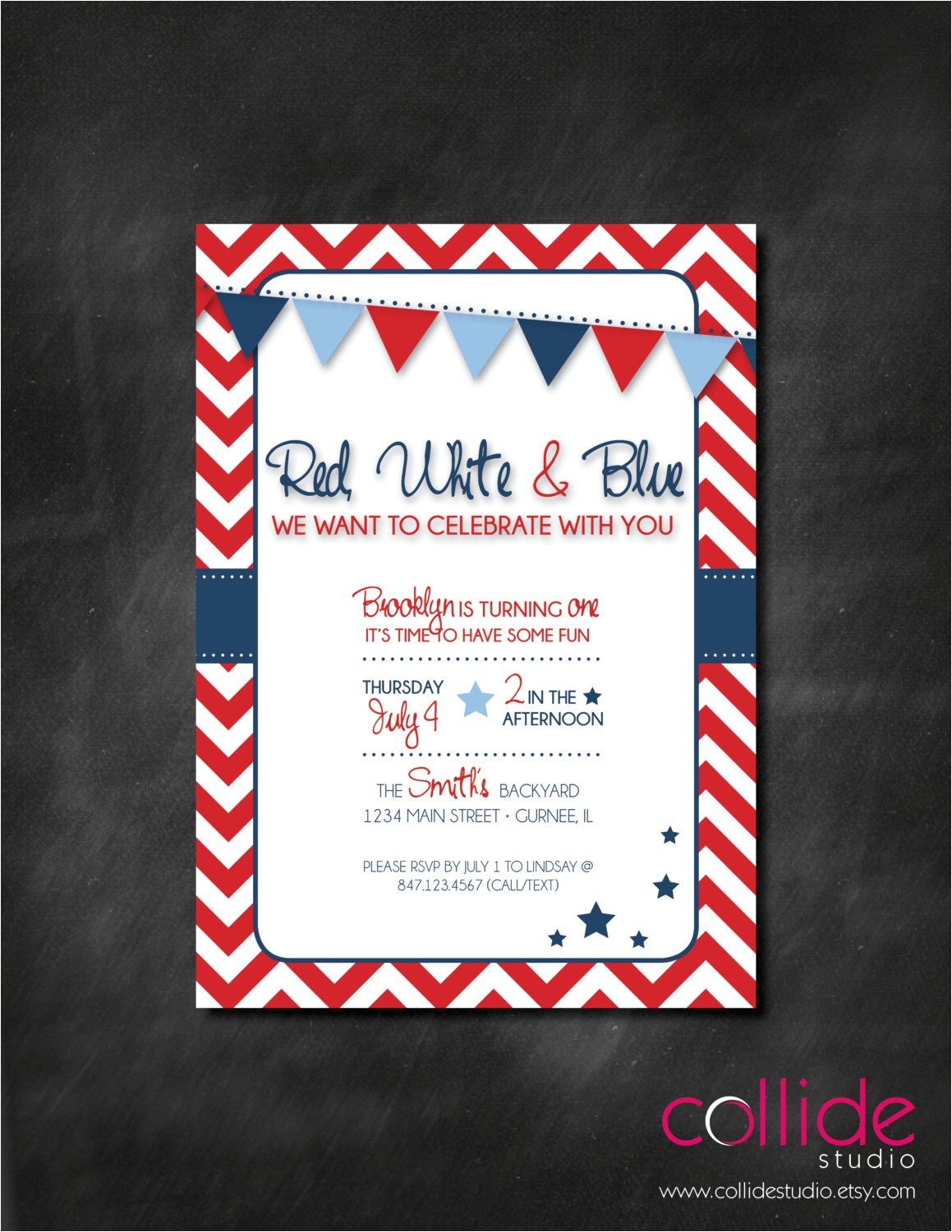 red white blue birthday party or bbq