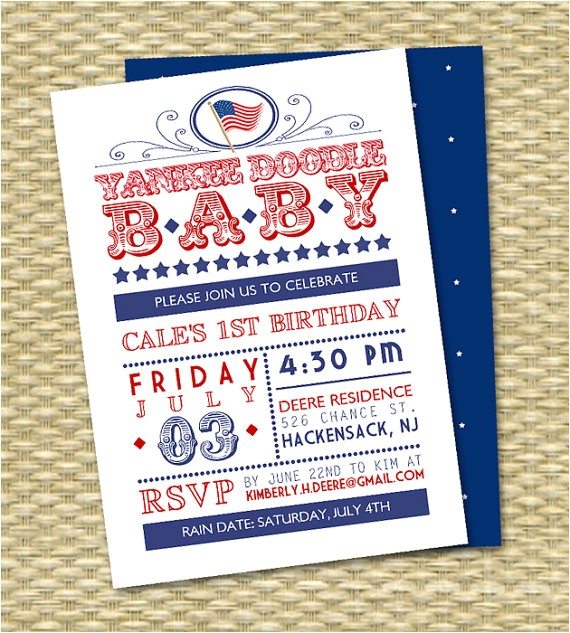 july 4th first birthday invitation red