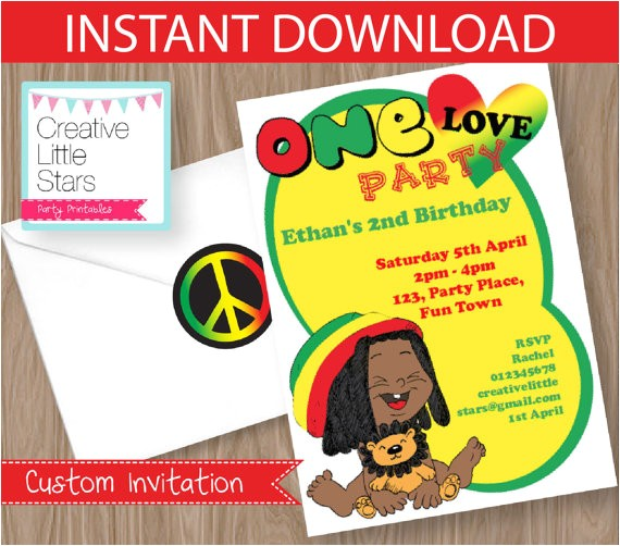 reggae love invitation editable instant 2