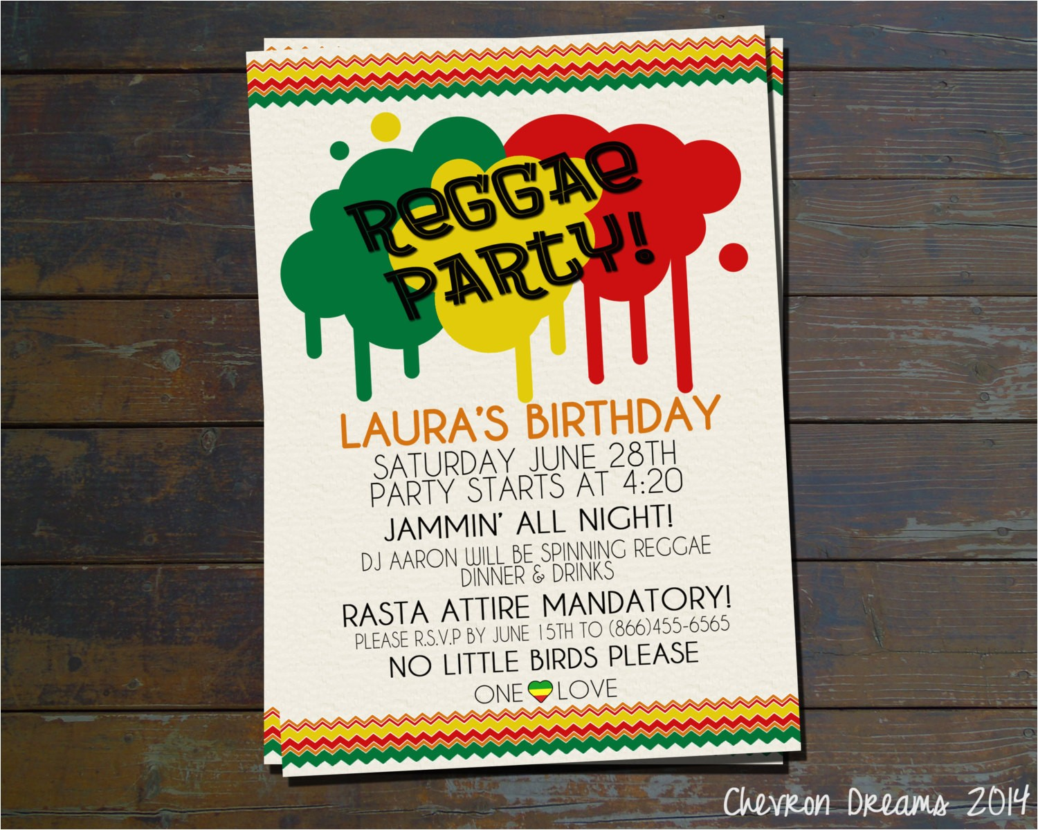 Reggae themed Party Invitations Reggae Party Birthday Invitation