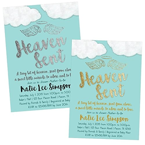 blue heaven sent baby shower invitations boy religious