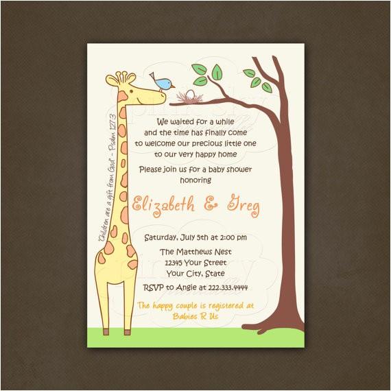 giraffe bir baby shower invitations