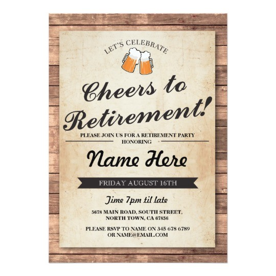 retirement party cheers beers wood pub invitation