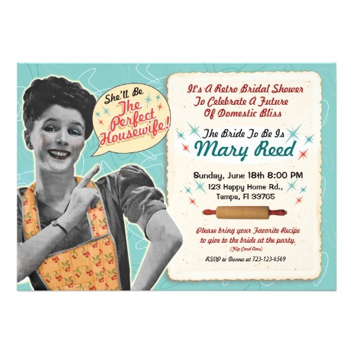 retro housewife bridal shower invitation template
