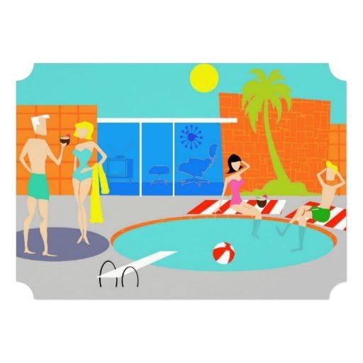 Retro Pool Party Invitations Customizable Retro Pool Party Invitation