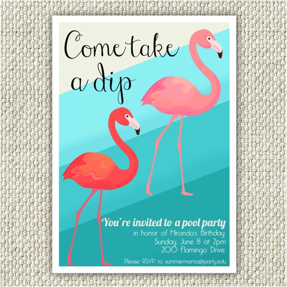 flamingo birthday party invitation retro