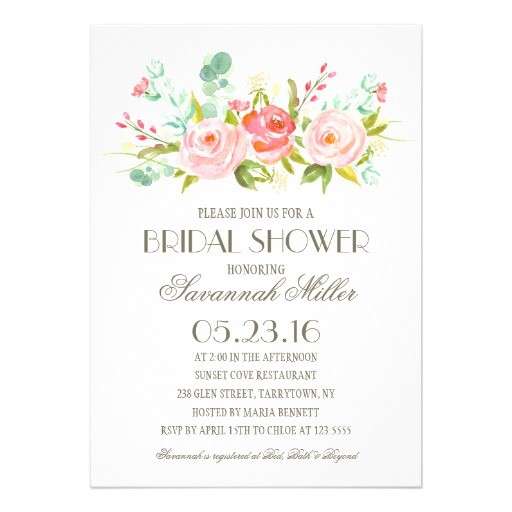 rose garden bridal shower 5x7 paper invitation card