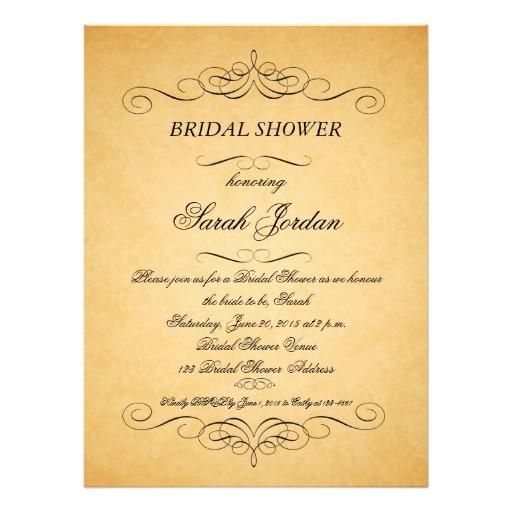 vintage paper swirls bridal shower invitation