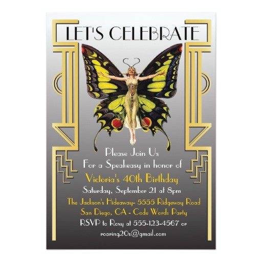 roaring 20s art deco flapper party invitation 161616354012769266