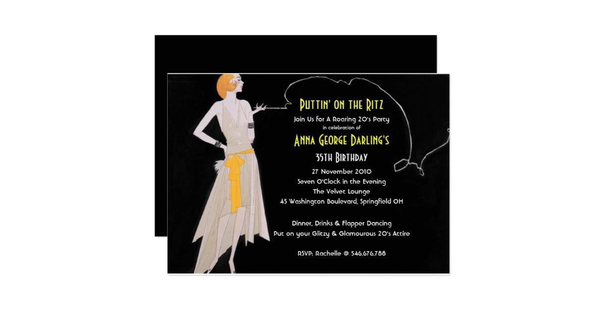 roaring 20s flapper party invitations 161327016383475232