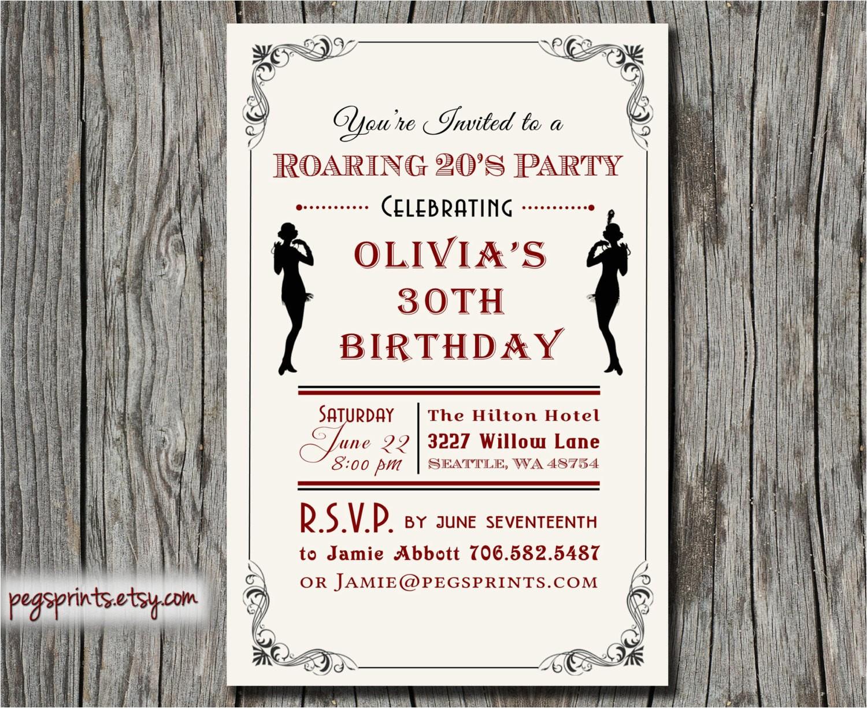 roaring 20s invitation 1920s birthday