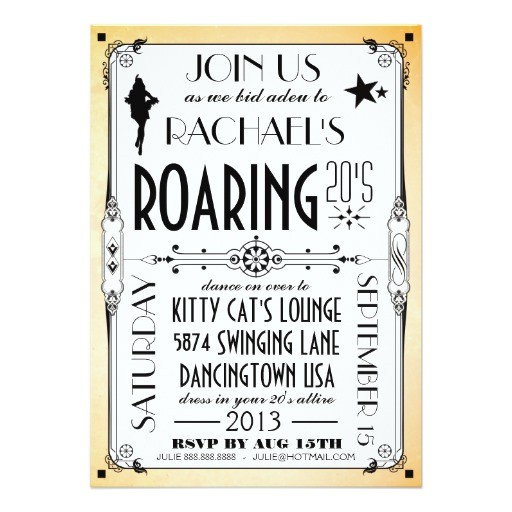 roaring 20s retro art deco party invitation