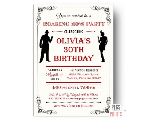 roaring 20s invitation 1920s birthday invitation