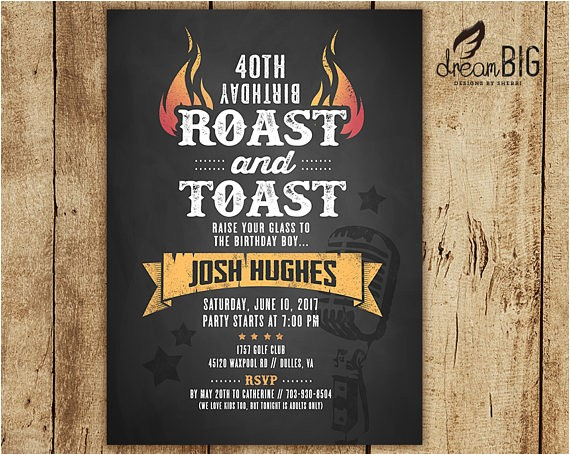 roast and toast birthday invitation