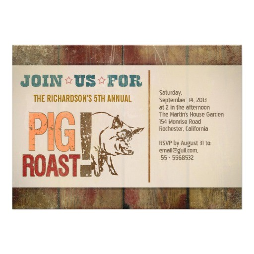 pig roast barbecue party invitations 161772265725898973