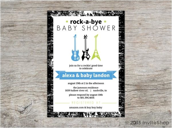 rock bye baby guitars shower invitation