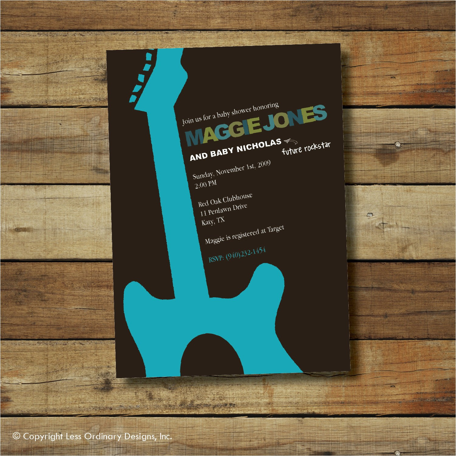 rock and roll baby shower invitation boy