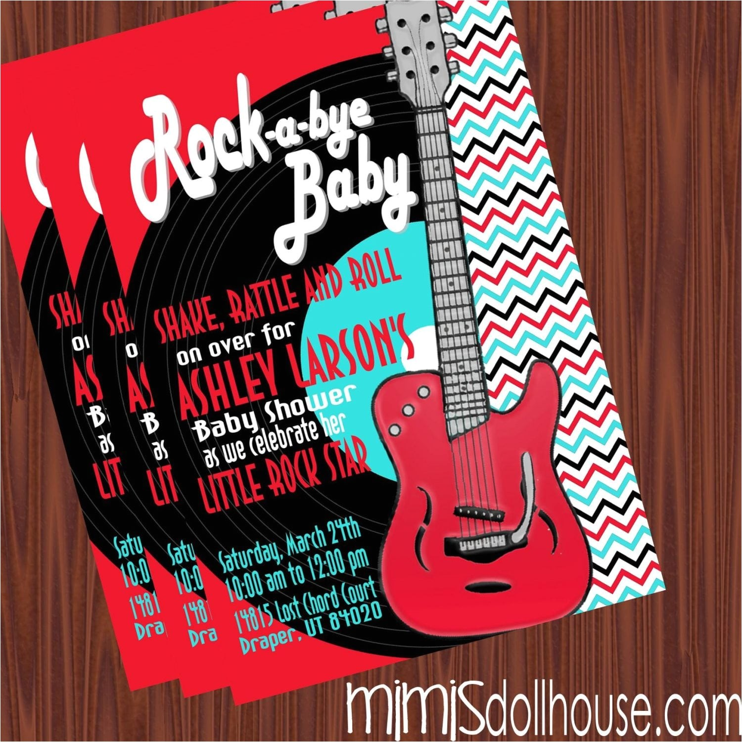 rock and roll baby shower invitation red