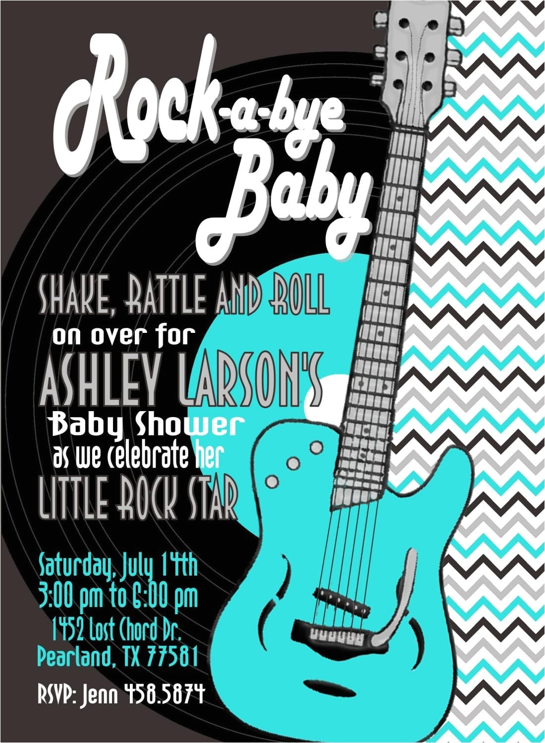 rock and roll baby shower invitation tealsilver