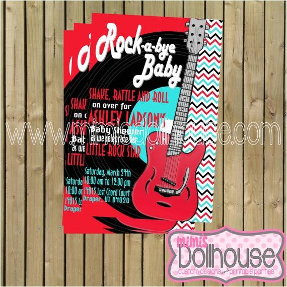 rock and roll invitation rocker baby