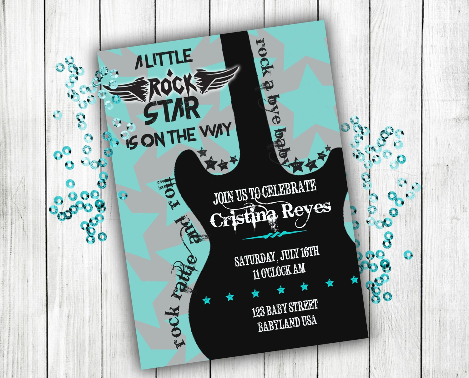 baby shower invitation rock n roll baby
