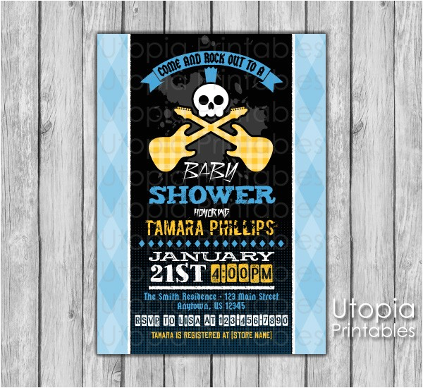 rock n roll baby shower invitation