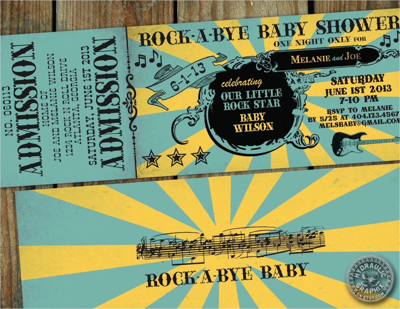 rock n roll baby shower ticket