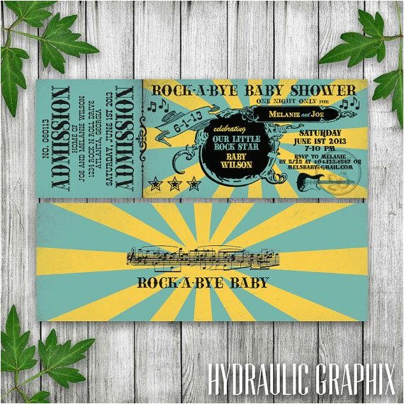 rock n roll baby shower ticket invitation printable ticket invitation rock a bye baby shower invite rock n roll baby shower with guitar