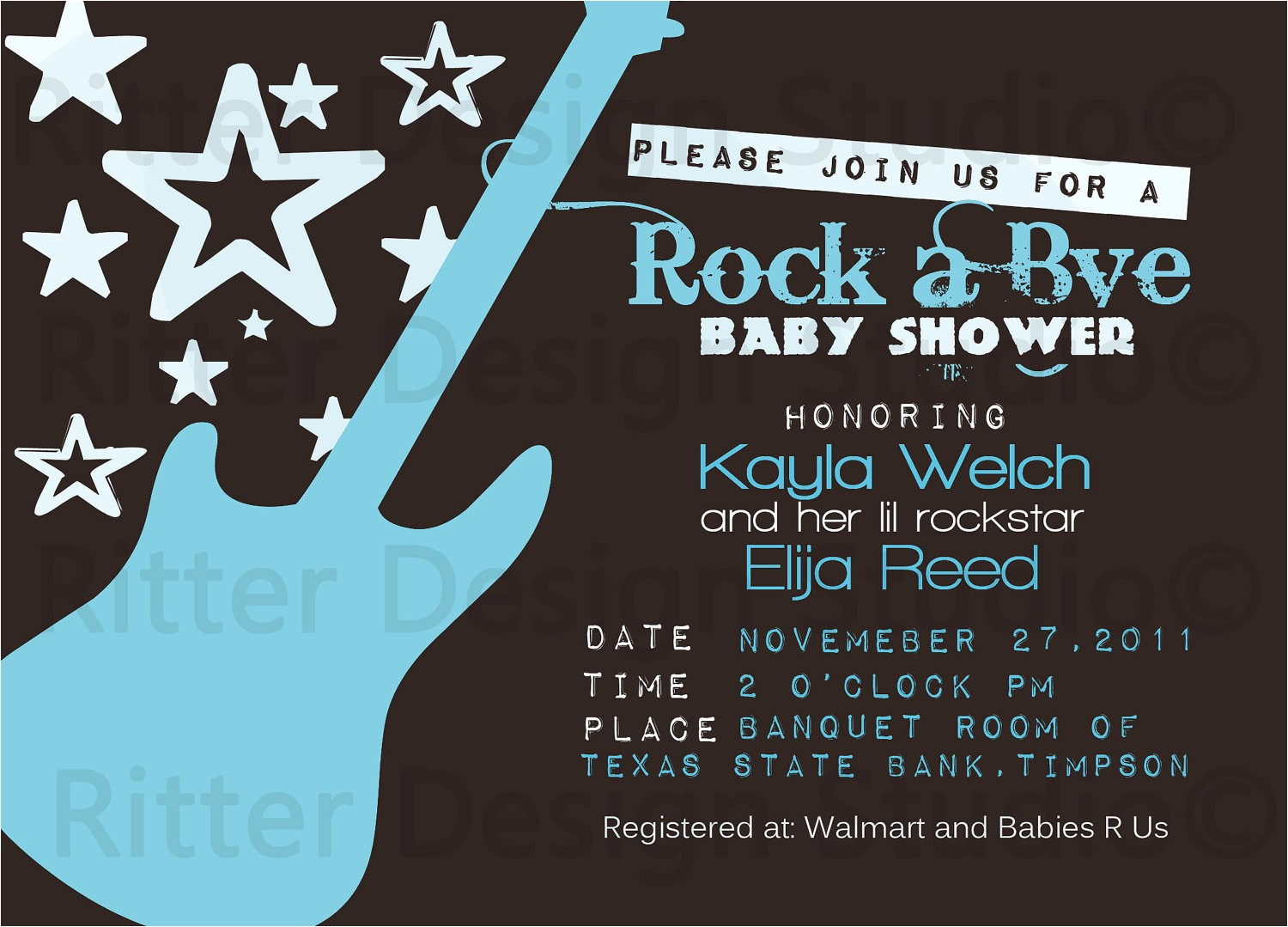 rock star guitar baby shower invitation
