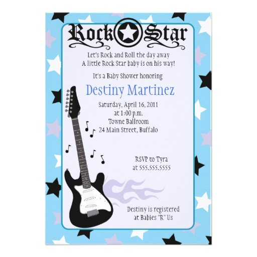 rock star 5x7 rocker baby shower invitation