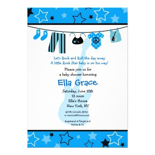 rock star rocker baby shower invitation