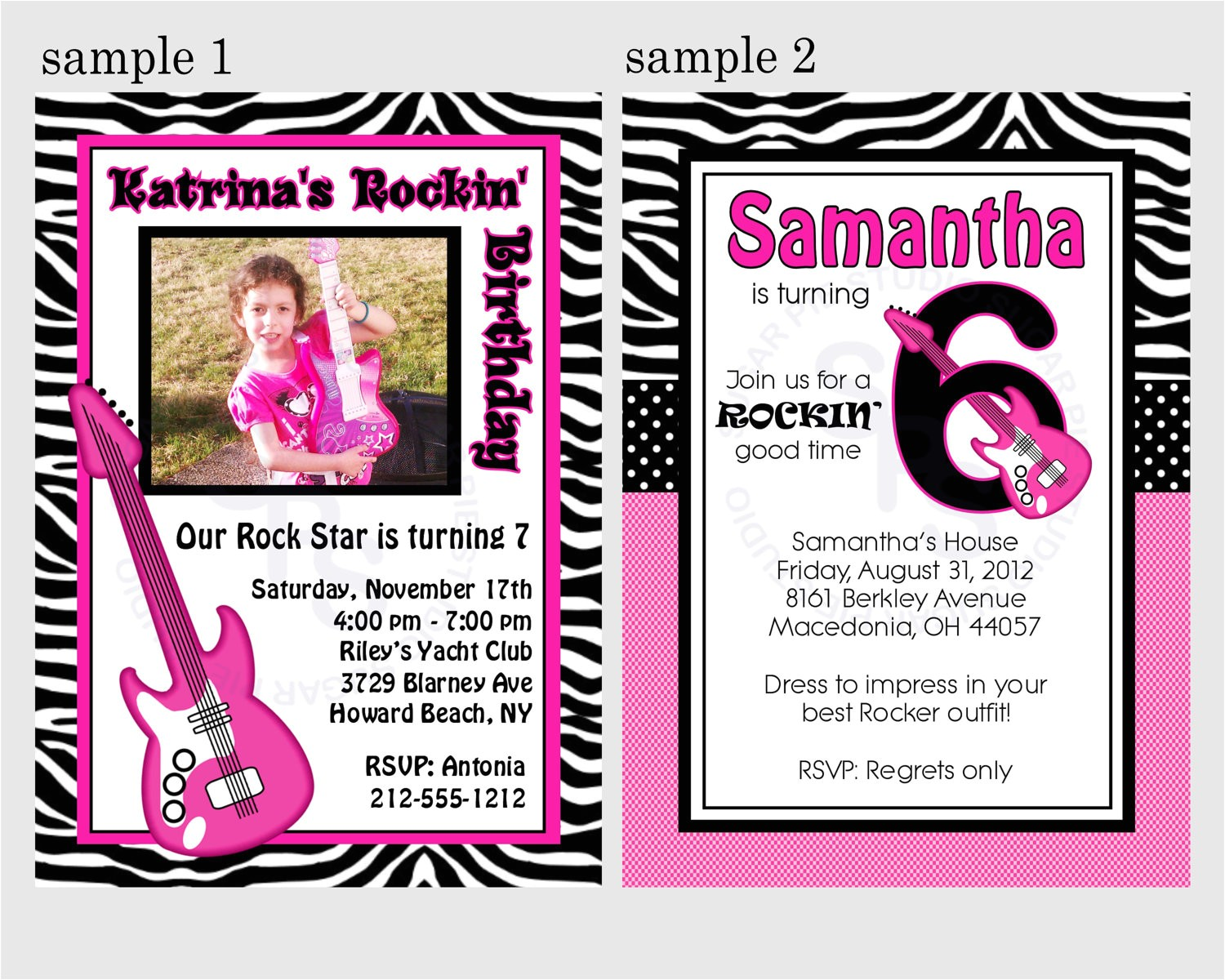 free rock star birthday invitation